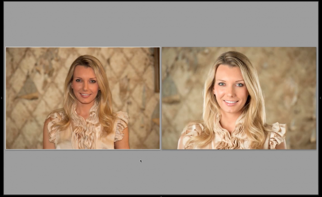 Left photo is speedlight on camera, right photo is a 3-light setup.