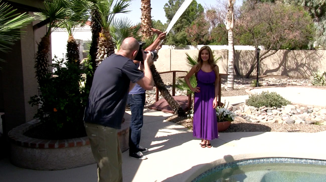 Heading out into the bright sunlight, Mark demonstrates using shade for better portraits.