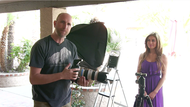 Mark starts by demonstrating how to control the ambient light and flash separately.